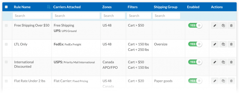 Shipper HQ sample shipping rules