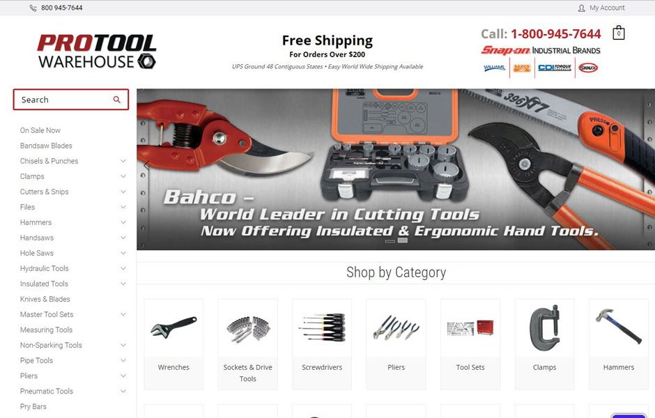 ProTools Warehouse Site Redesign on BigCommerce Stencil