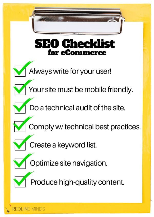 SEO Checklist for online stores and ecommerce. May be reused with attribution and a link back to RedlineMinds.com