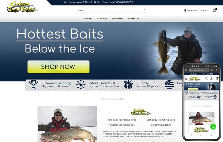 BigCommerce store redesign - Custom Jigs and Spins