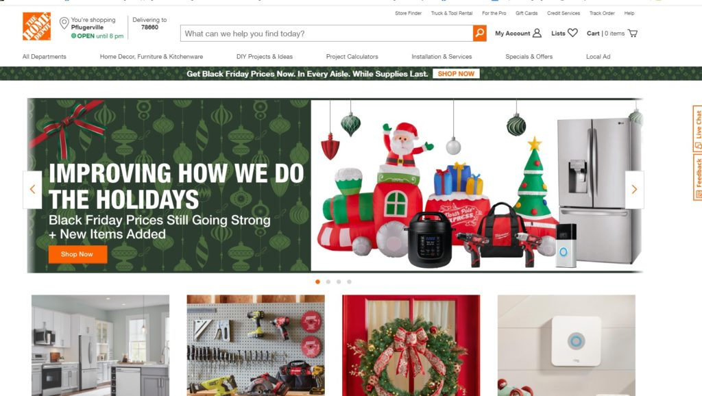 Home Depot's homepage 11/29/20 is an example of a Great Homepage for eCommerce