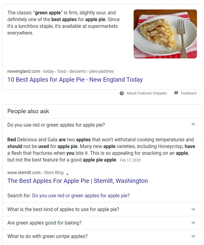 Google Search knowledge panels. Here are two examples, top of page and questions and answers.