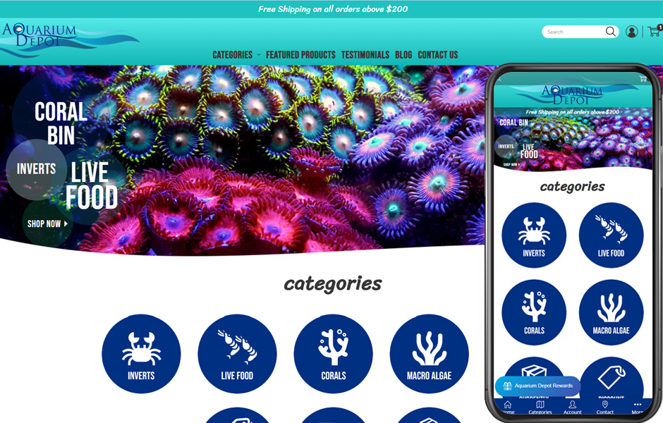Aquarium Depot's new site shown on a desktop and on mobile
