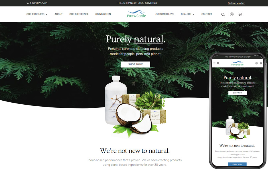 Pure and Gentle Soap is a WordPress site powered by a BigCommerce store