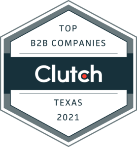 Clutch award for Top B2B Companies in Texas 2021 for Redline Minds